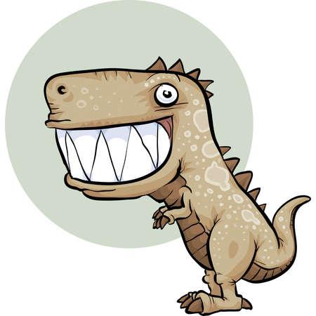 dinosauro: Un felice, dinosauro cartone animato con un grande sorriso. Vettoriali
