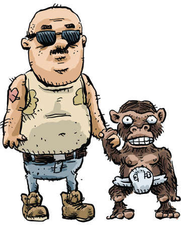 tough man: A rough cartoon trucker and his friend chimp. Illustration