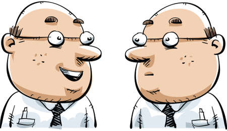 lookalike: A cartoon man is happy to see his twin. Illustration
