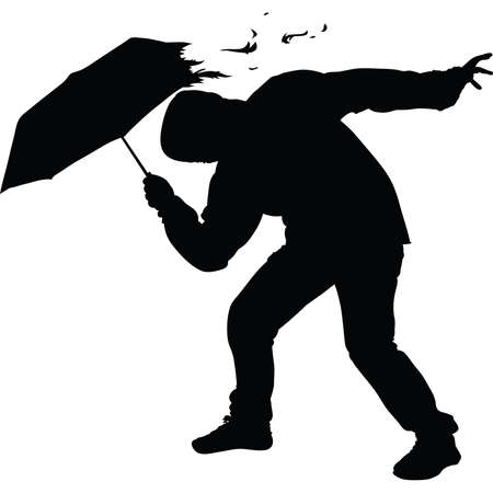strong wind: A silhouette of a mans umbrella being torn in a strong wind.