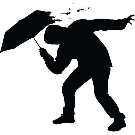 Een silhouet van de paraplu van een man verscheurd in een sterke wind. Stock Illustratie