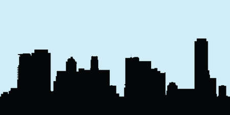 uptown: Skyline silhouette of the buildings at Yonge and Bloor Streets in Toronto, Ontario, Canada.