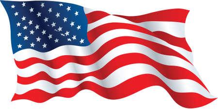 미국의 흔들며 국기의 그림. 일러스트