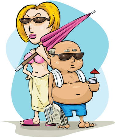 A funny vacation couple dressed for the beach.