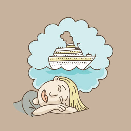 daydream: A cartoon woman dreams about a cruise ship vacation.
