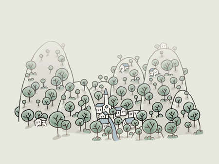 nestled: A cartoon village nestled in a cozy valley.