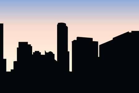 vancouver city: Skyline silhouette of the city of Vancouver, British Columbia, Canada. Illustration