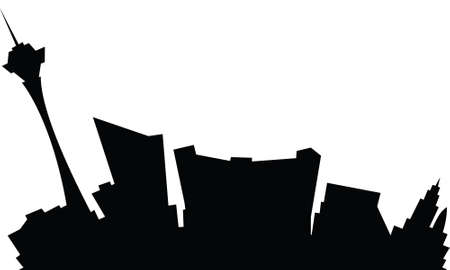 city building: Cartoon skyline silhouette of the city of Las Vegas, Nevada, USA.