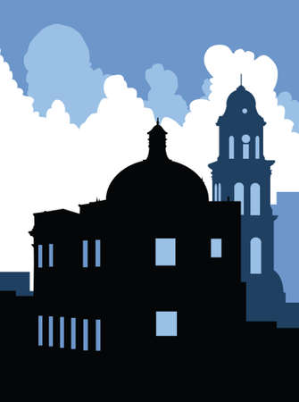 mexico city: Skyline silhouette of the city of Veracruz, Mexico.