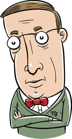 estereotipo: Un hombre de dibujos animados que representa el estereotipo del signo astrol�gico de Virgo.