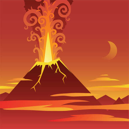 Cartoon of a volcano erupting in a barren landscape.