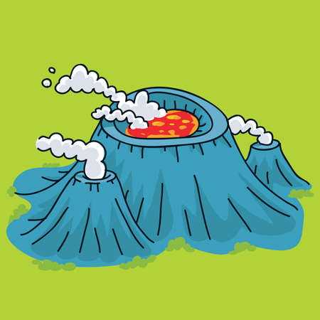volcano mountain: A cartoon volcano lying dormant with hot, steaming lava.
