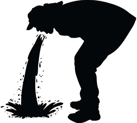 vomit: Silhouette of a man releasing a large stream of vomit. Illustration