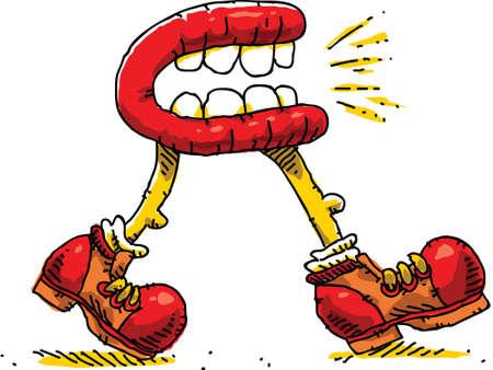 A big cartoon mouth walking and talking at the same time. Vector