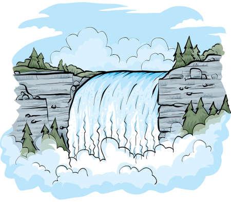 Una cascada de dibujos animados en un día brillante. Foto de archivo - 29714282