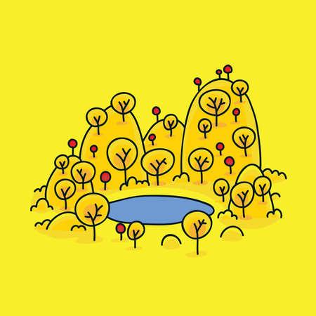 elvonult: A félreeső, rajzfilm tó körül őszi hegyek.