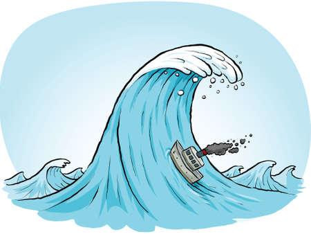 A tiny, cartoon boat blows smokes as it tries to climb a massive wave.