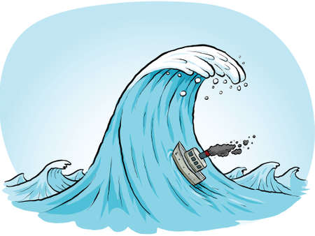 rough: A tiny, cartoon boat blows smokes as it tries to climb a massive wave.