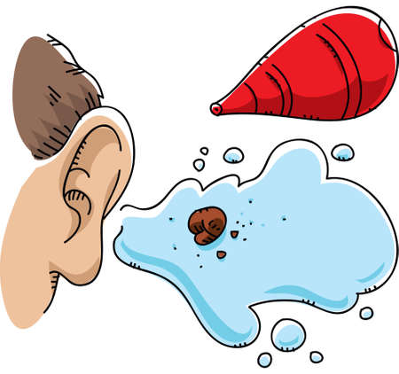 saline: A cartoon ball of ear wax, flushed out by a syringe.