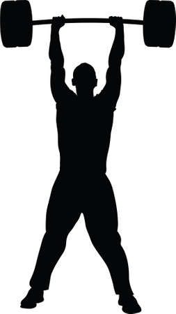 A silhouette of a man lifting weights with success. Illustration