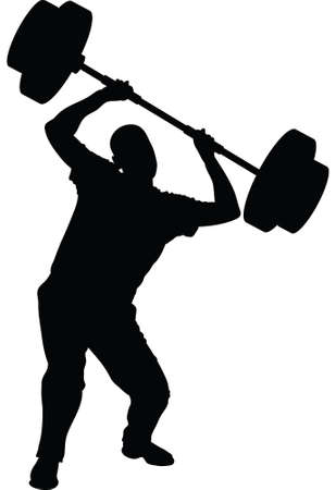 levantar pesas: Una silueta de un hombre que lucha para levantar pesas. Vectores
