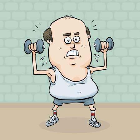 levantar pesas: Un hombre de dibujos animados se esfuerza por levantar pesas y construir sus m�sculos.