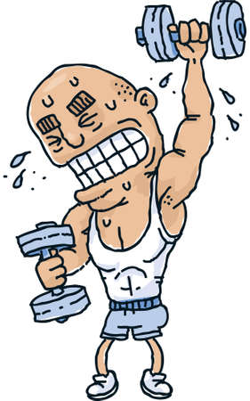 strains: A cartoon man strains to lift weights and build his muscles.