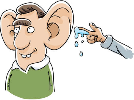 A cartoon had prepares to give a wet willy to a man with giant ears.