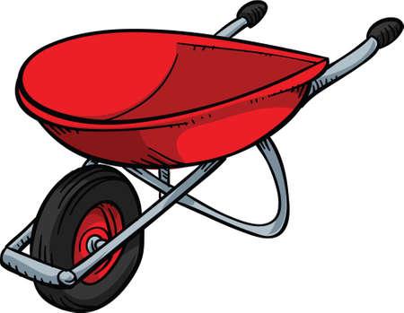 A red, metal cartoon wheelbarrow.