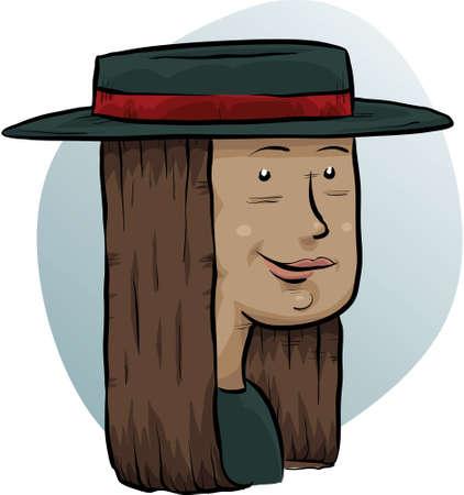 A cartoon woman in a wide-brimmed hat. Vettoriali