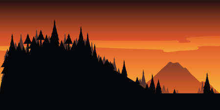 cartoon quiet: Cartoon sunrise in the wilderness forest and mountains.