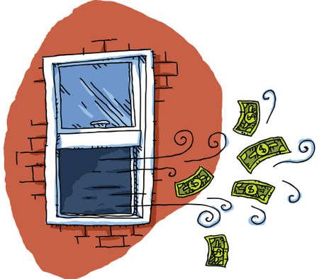 waste money: Cartoon cash money blows out of an open window.