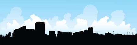 ontario: Silhouette skyline della citt� di Windsor, Ontario, Canada.