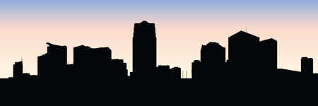 business district: Skyline silhouette of the city of Windsor, Ontario, Canada.