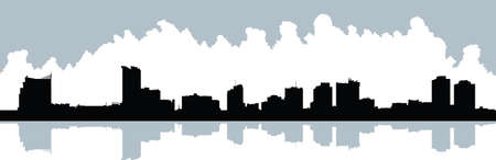 windsor: Skyline silhouette of the city of Windsor, Ontario, Canada.