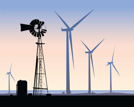 Silhouette of contrasting energy sources: an old windmill and modern wind turbines. Ilustrace