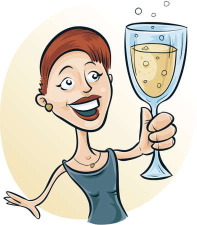 tipsy: A cartoon woman holding a glass of sparkling wine. Illustration