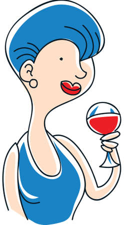 A cartoon woman holding a glass of red wine.