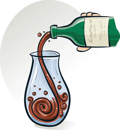 decanter: A cartoon bottle pouring red wine into a decanter.