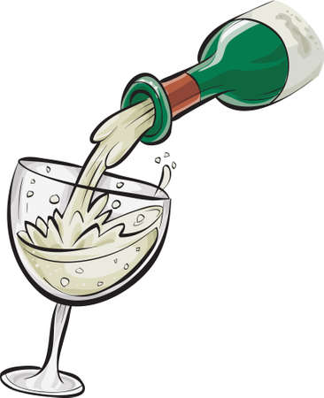 A cartoon bottle pouring white wine into a glass.