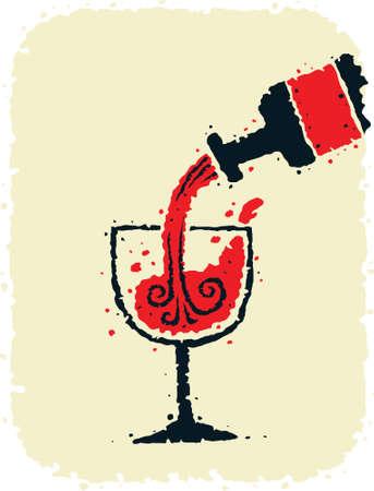 漫画のボトル赤ワインをグラスに注ぐ。  イラスト・ベクター素材