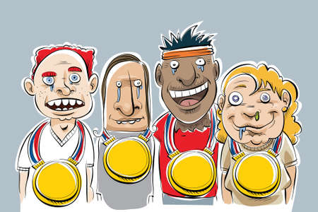 A group of cartoon nerds who won very large gold medals. Ilustração