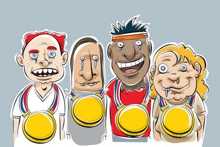 Een groep van cartoon nerds die zeer grote gouden medailles gewonnen.