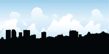 business district: Skyline silhouette of the city of Winnipeg, Manitoba, Canada.