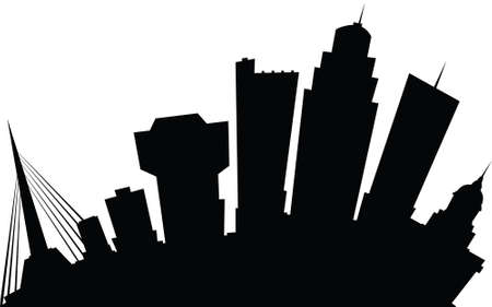 business district: Cartoon skyline silhouette of the city of Winnipeg, Manitoba, Canada.