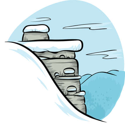 rock layer: A snow-covered rock cliff in winter.