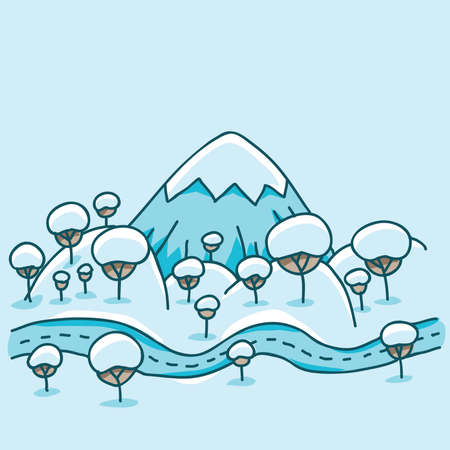 A cartoon mountain landscape with hills and trees covered in snow.