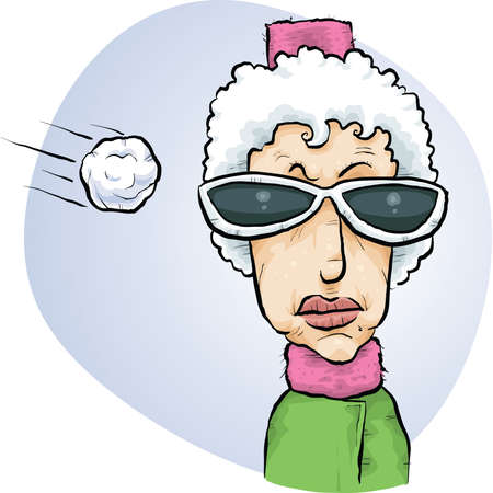 A cartoon snowball flies towards the head of an unsuspecting woman.