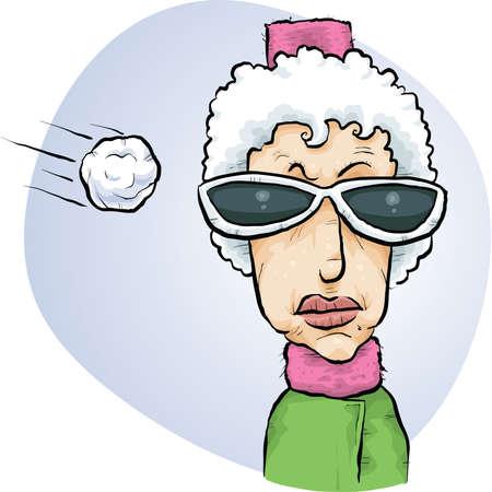 oblivious: A cartoon snowball flies towards the head of an unsuspecting woman.