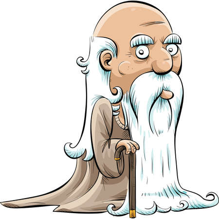 Een wijze, oude cartoon man met een stok en een lange witte baard. Vector Illustratie